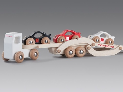 Children's wooden racing truck